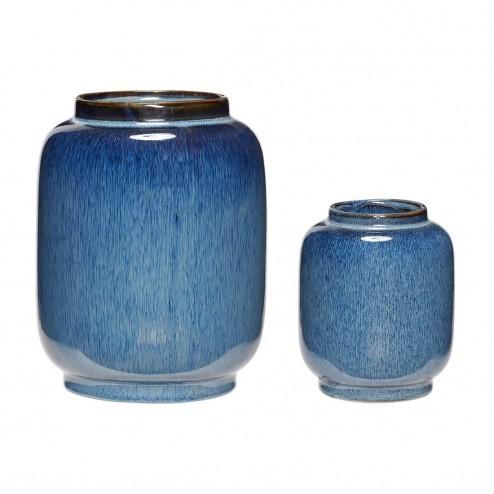 Hübsch Interior vazen van blauw keramiek (set van 2)