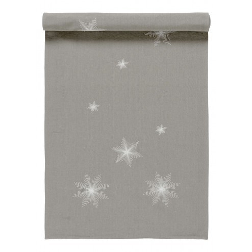 Linum tafelloper Star in grijs