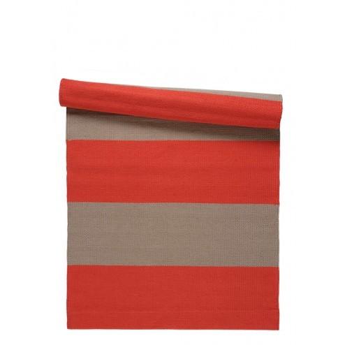 Linum Sten vloerkleed, rood gestreept, 80x160cm