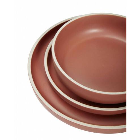 Hübsch diepe borden van rood keramiek, set van 3