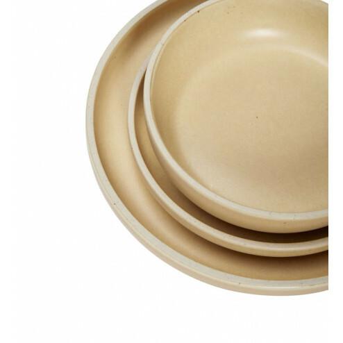Hübsch diepe borden van naturel keramiek, set van 3