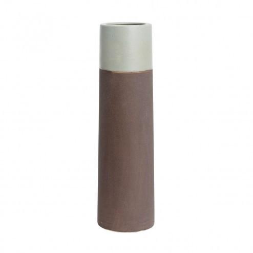 Vaas van gekleurde klei met grijze top