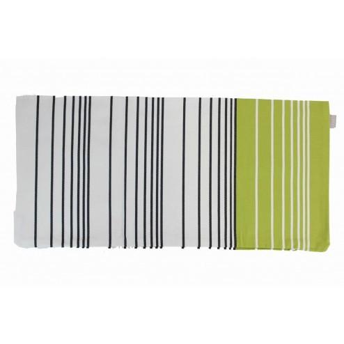 Linum kussenhoes Road groen/antraciet gestreept 35x70cm