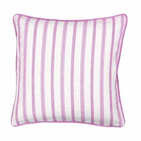 Kussenhoes roze wit gestreept, 50x50 cm