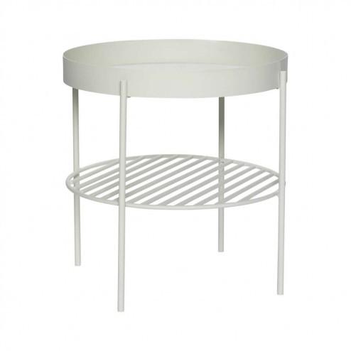 Hübsch ronde side table, wit metaal, 45cm
