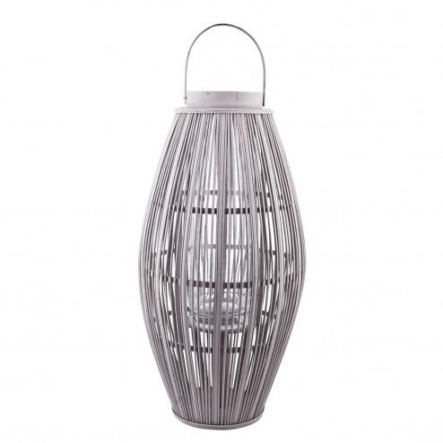 Broste lantaarn Aleta bamboe in grijs, 62.5cm