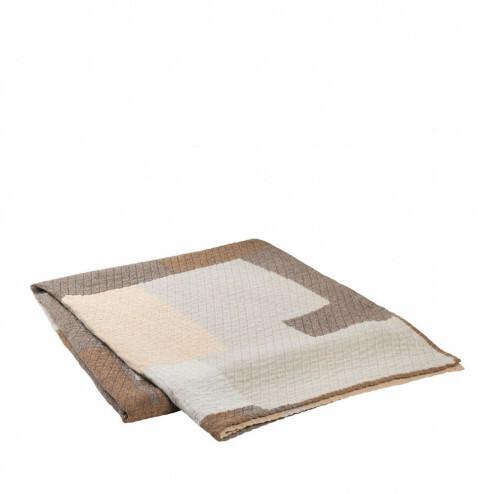 Broste bedsprei Patch van beige katoen, 240x260cm