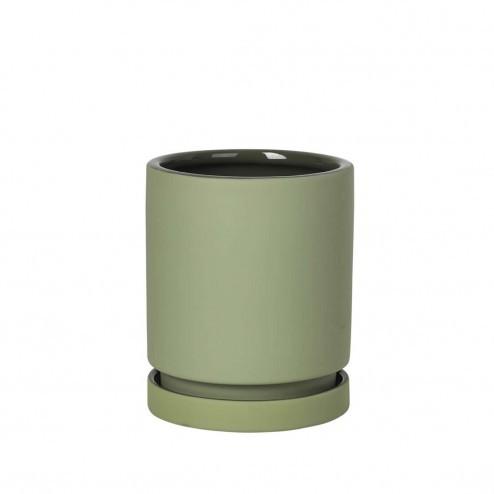 Broste bloempot Polaris, groen aardewerk, Ø14cm