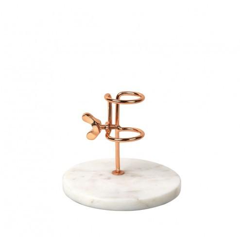 Broste Copenhagen kandelaar 'Fjarril' van marmer en koper, 10cm