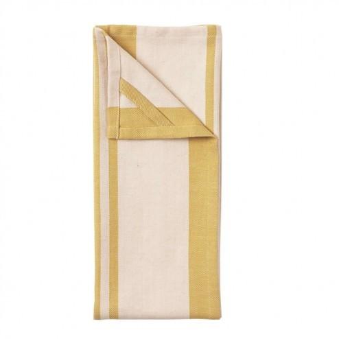 Broste theedoeken Yrsa van linnen en katoen, geel (set van 2)