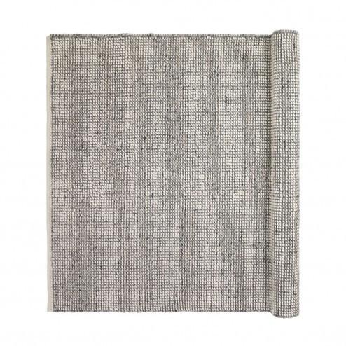 Broste vloerkleed Dave, grijswitte melange van wol en viscose, 140x200cm
