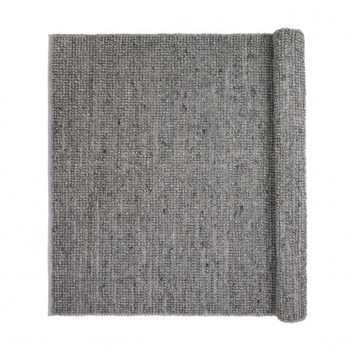 Broste vloerkleed Thomas, donkergrijze wol en viscose, 70x140cm