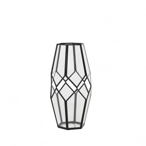Broste Copenhagen windlicht Peter, zwart metaal en glas, 33cm-Broste Copenhagen-31