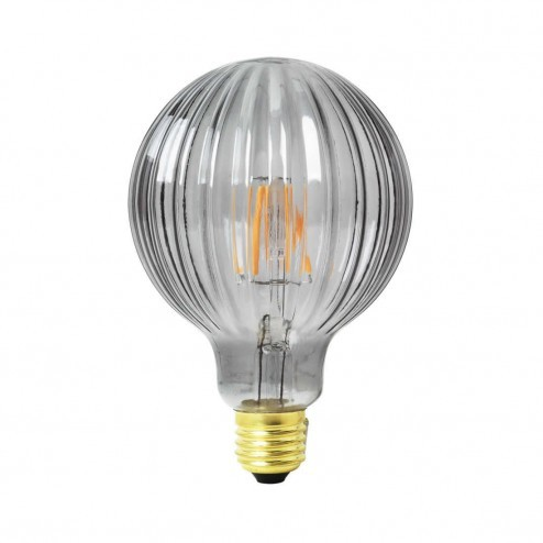 Broste Copenhagen ledlamp Frill van geribbeld rookglas, ø10cm