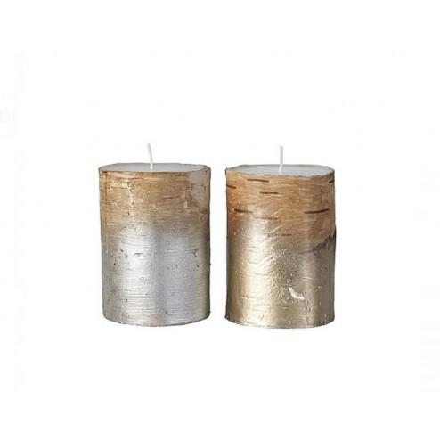 Broste set van twee kaarsen in goud/zilver
