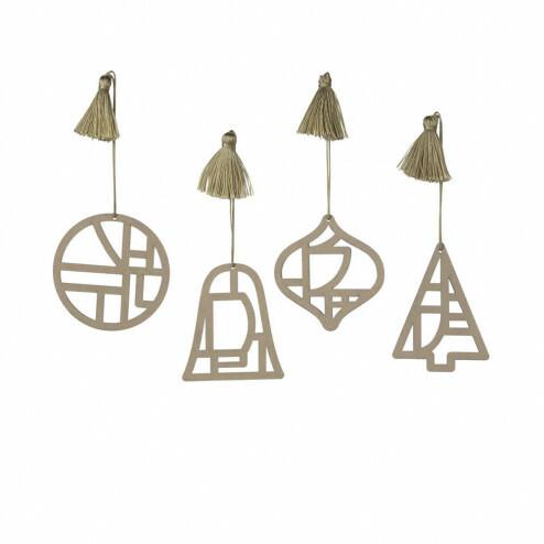 Broste papieren kerstversiering Fili (set van 4)
