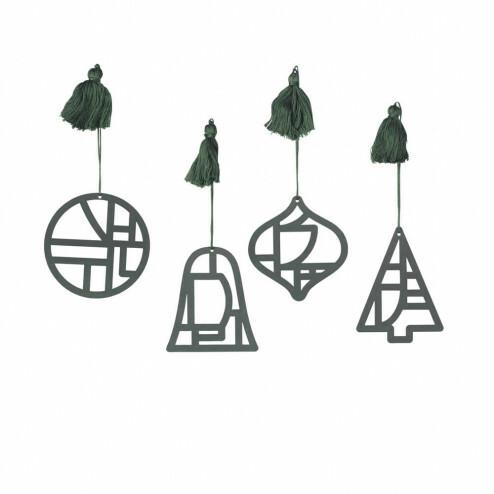 Broste papieren kerstversiering Fili, bosgroen (set van 4)