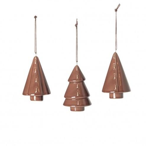 Broste kerstboompjes Fine van porselein, bruin (set van 3)