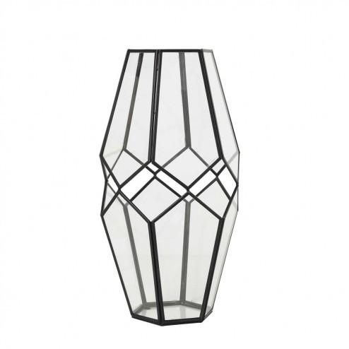 Broste Copenhagen windlicht Peter, zwart metaal en glas, 40cm