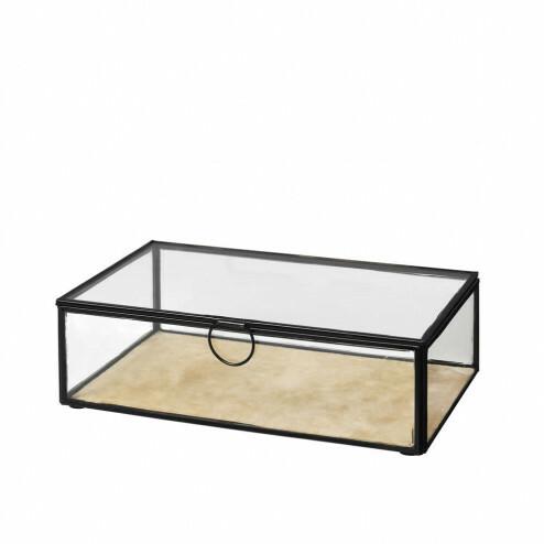 Broste glazen opbergdoos Janni met fluweel, 26cm
