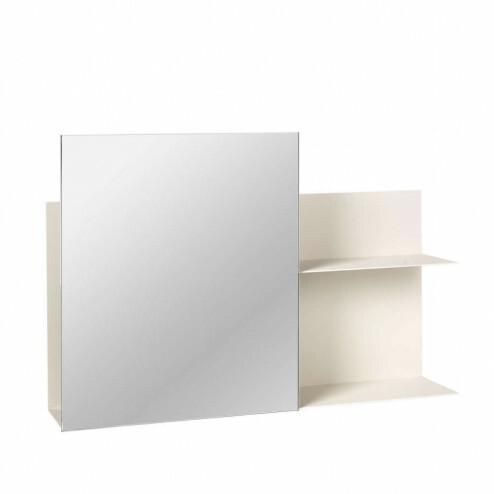 Broste spiegel Svante met ijzeren wandrek in wit