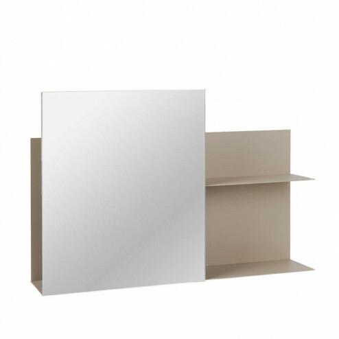 Broste spiegel Svante met ijzeren wandrek in beige