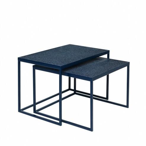 Side tables Tilde, set van 2, donkerblauw