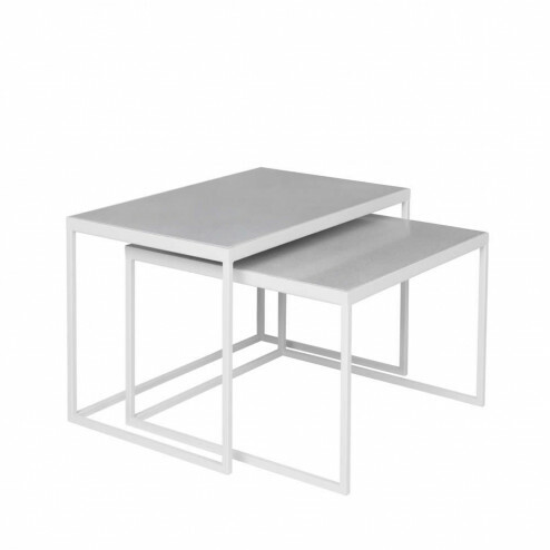 Side tables Tilde, set van 2, lichtgrijs