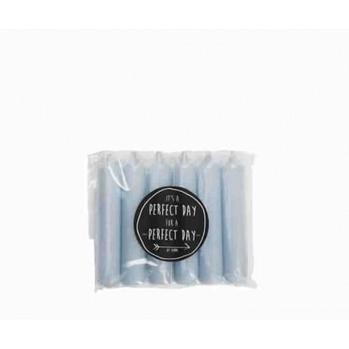 Rustik Lys dinerkaarsen (set van 6), 2,1x12cm, chalk blue