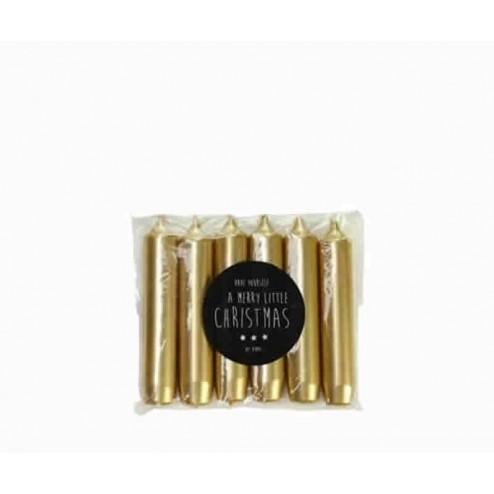 Rustik Lys dinerkaarsen (set van 6), 2,1x12cm, goud