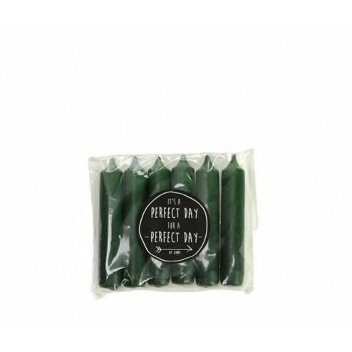 Rustik Lys dinerkaarsen (set van 6), 2,1x12cm, hunting green