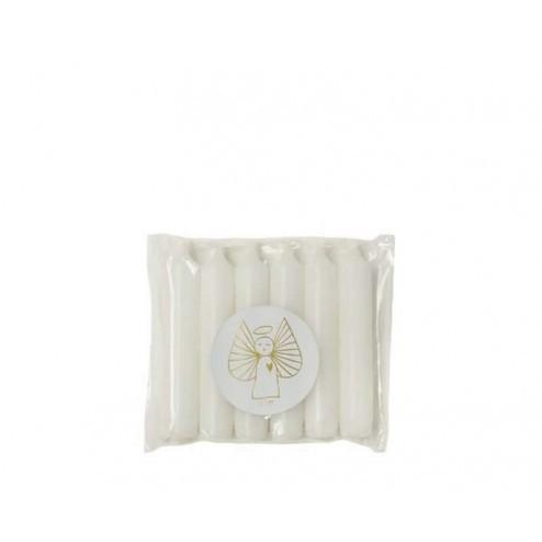 Rustik Lys dinerkaarsen (set van 6), 2,1x12cm, wit