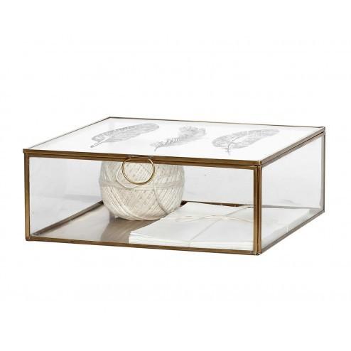 Hübsch glazen sierdoos met varen motief, 24x24x9cm