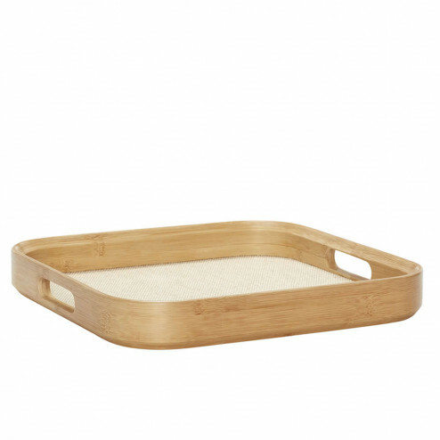Hübsch houten dienblad met ronde hoeken, 45x45cm