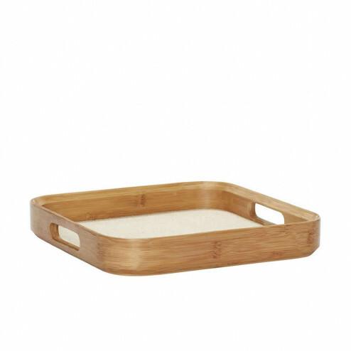 Hübsch houten dienblad met ronde hoeken, 33x33cm