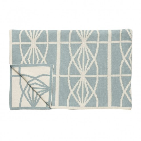 Hubsch plaid in teal/beige met geometrisch patroon