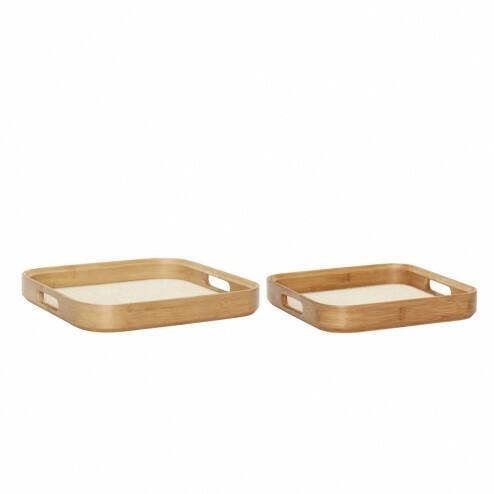 Hübsch houten dienbladen met ronde hoeken