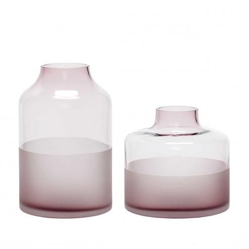 Hübsch Interior vazen van roze glas (set van 2)