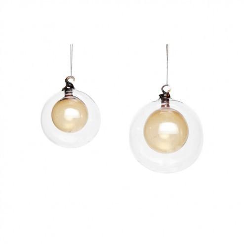 Hubsch kerstballen van glas, set van 2