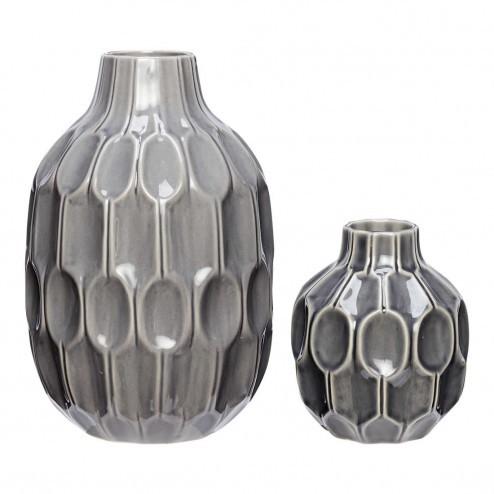 Hubsch grijze keramieken vazen met patroon (set van 2)