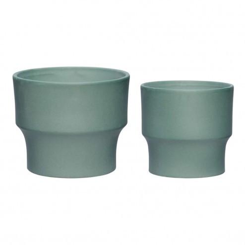 Hubsch groene potten van keramiek (set van 2)