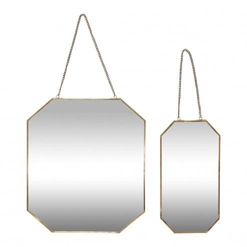 Hubsch hangende spiegels met messing rand (set van 2)