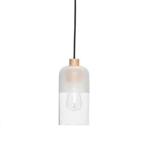Hubsch kleine hanglamp van glas en hout, ø12cm