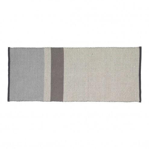 Hübsch vloerkleed van blauw-grijs-wit katoen, 80x200cm