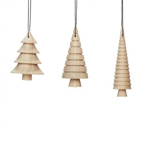 Hubsch houten kerstboompjes, set van 3
