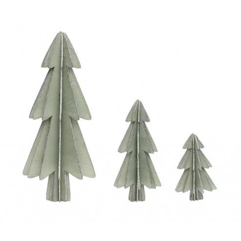 Kerstboompjes van hout, set van 3