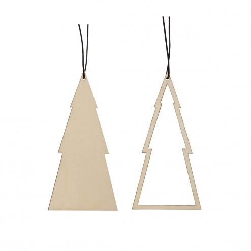 Hübsch Interior kerstversiering kerstboompjes in hout, 11cm
