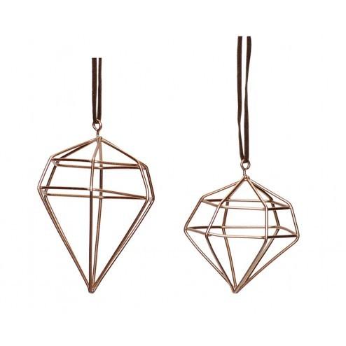 Hubsch diamond kerstversiering, set van 2