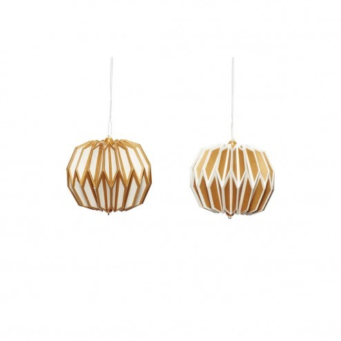 Hübsch papieren kerstballen in goud/wit, set van 2