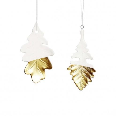 Hübsch Interior kerstversiering bladeren porselein/goud, 11cm